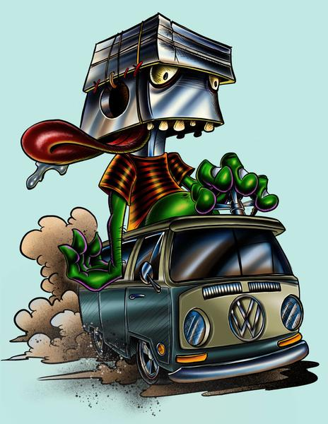 "Limited Edition Prints ""Gear Head Hippie"" by Joe Capobianco"