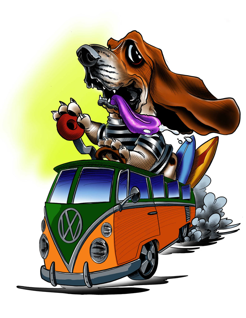"Card Art ""Surfing Basset"" by Joe Capobianco"