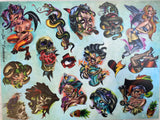 Tattoo Flash/Sticker Sheet Custom made by Joe Capobianco