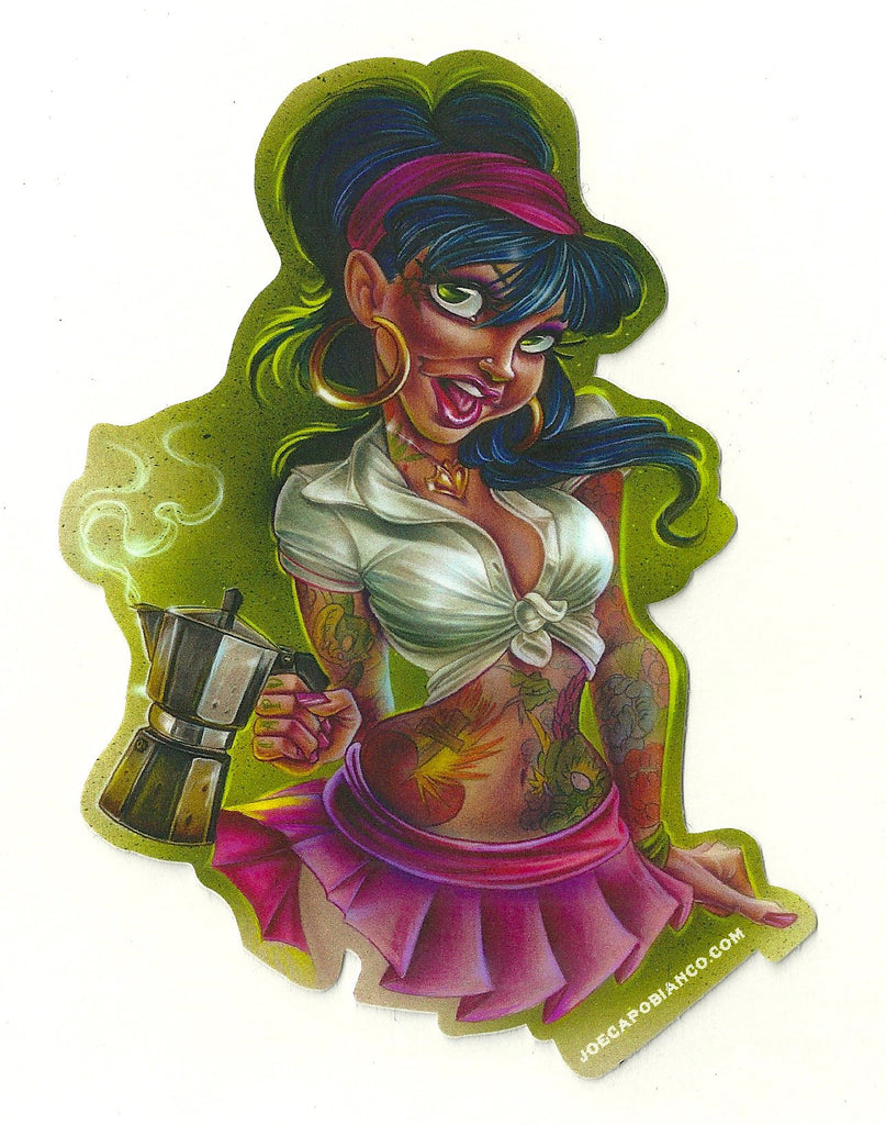 "Sticker ""Coffee Gal"" by Joe Capobianco"