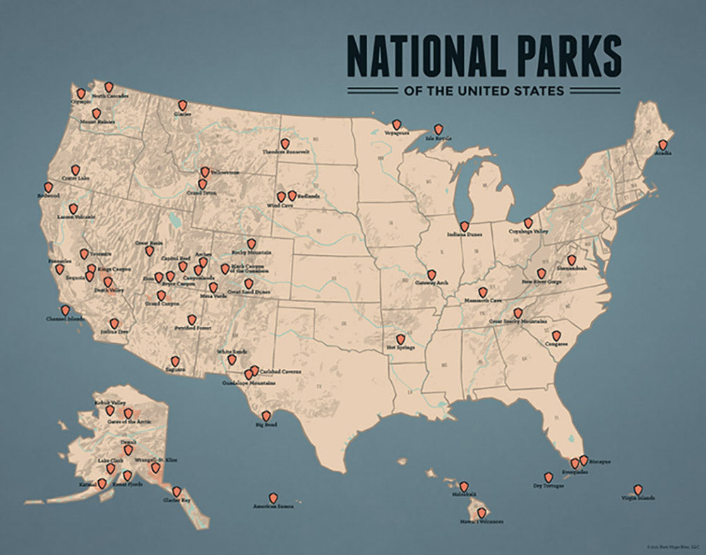 US National Parks Map Print - tan & slate blue