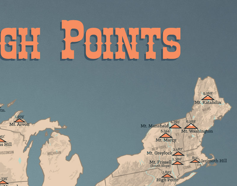 State High Points Map Print - tan & slate blue