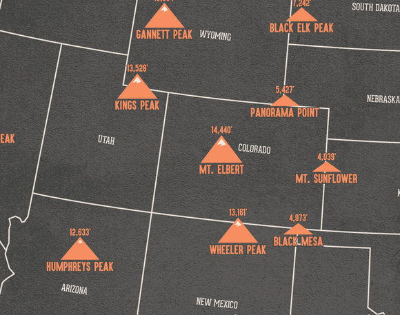 State High Points Highpoints Map Print - charcoal & beige
