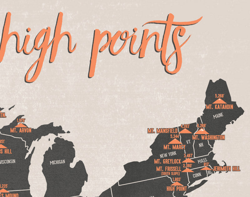 State High Points Map Print - charcoal & beige