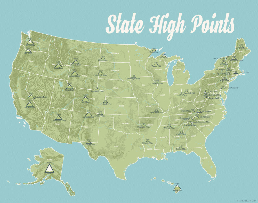 State High Points Highpoints Map Print - sage & aqua