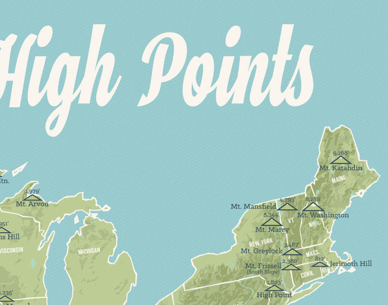 State High Points Map Print - sage & aqua