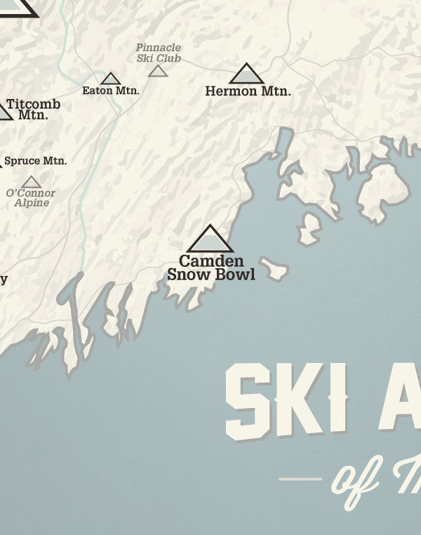 Maine Ski Resorts Map Print - Beige & Slate