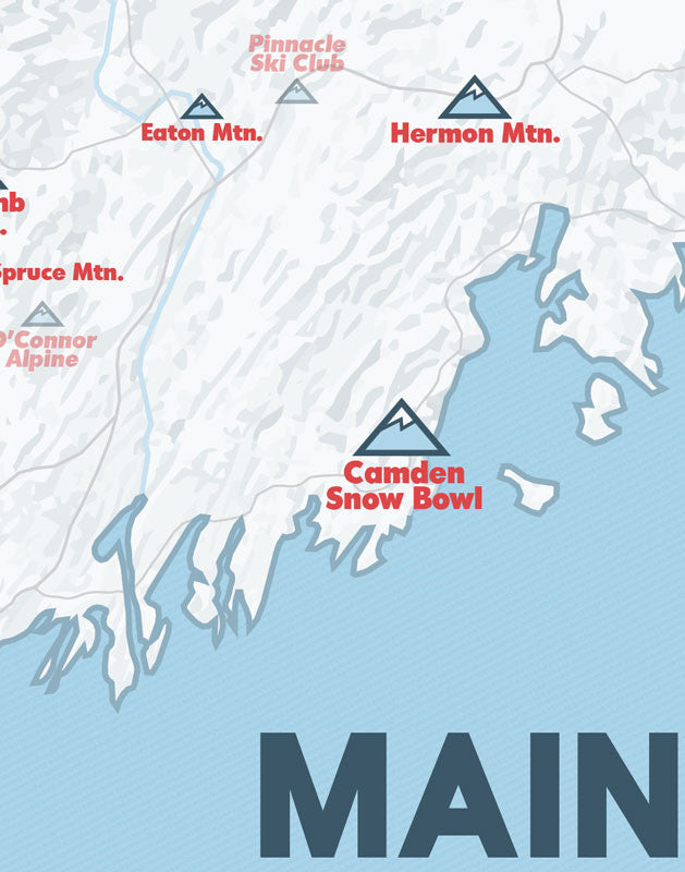 Maine Ski Resorts Map Print - White & Light Blue