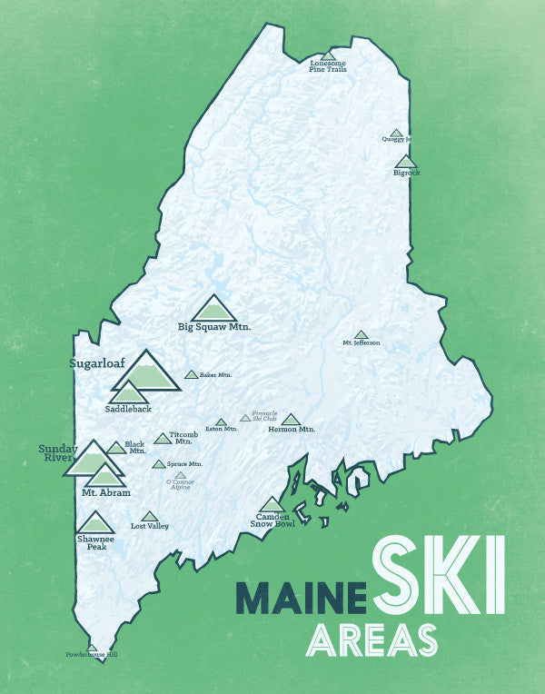 Maine Ski Resorts Map Print - White & Green