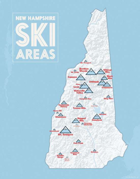New Hampshire Ski Resorts Map Print - White & Light Blue