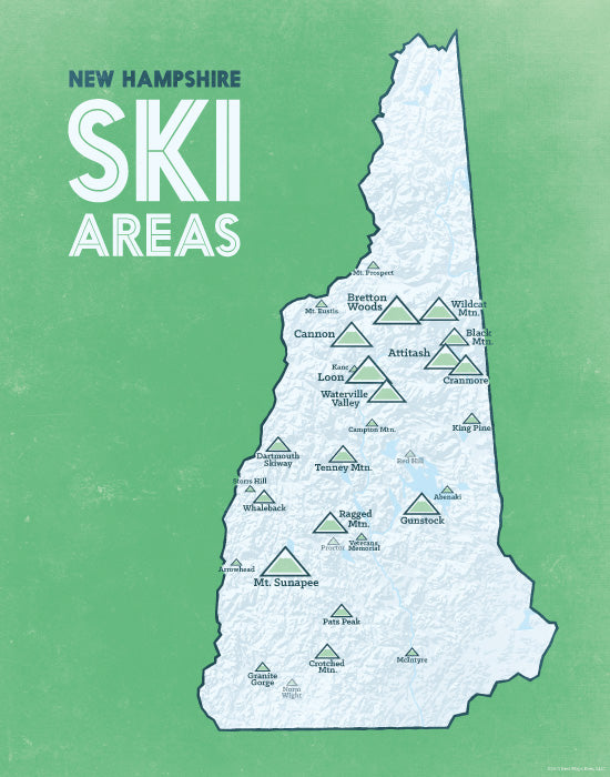 New Hampshire Ski Resorts Map Print - White & Green