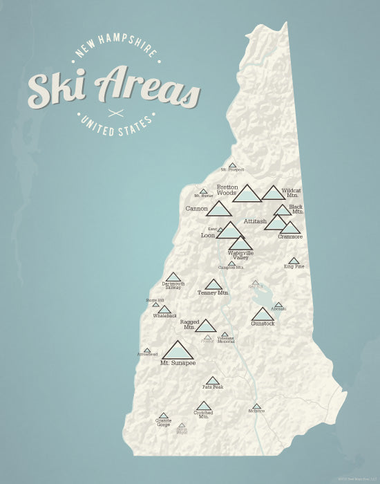 New Hampshire Ski Resorts Map Print - Beige & Opal Blue
