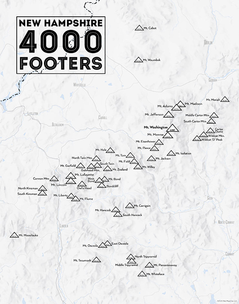 New Hampshire 4000 Footers Checklist Map - gray