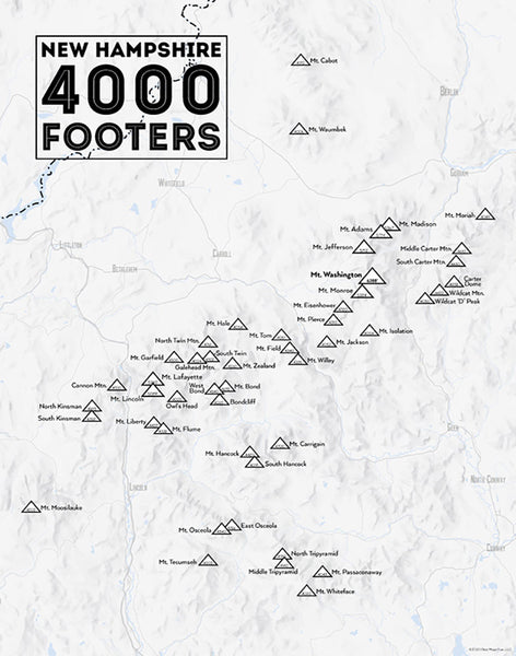 New Hampshire 4000 Footers Map 11x14 Print