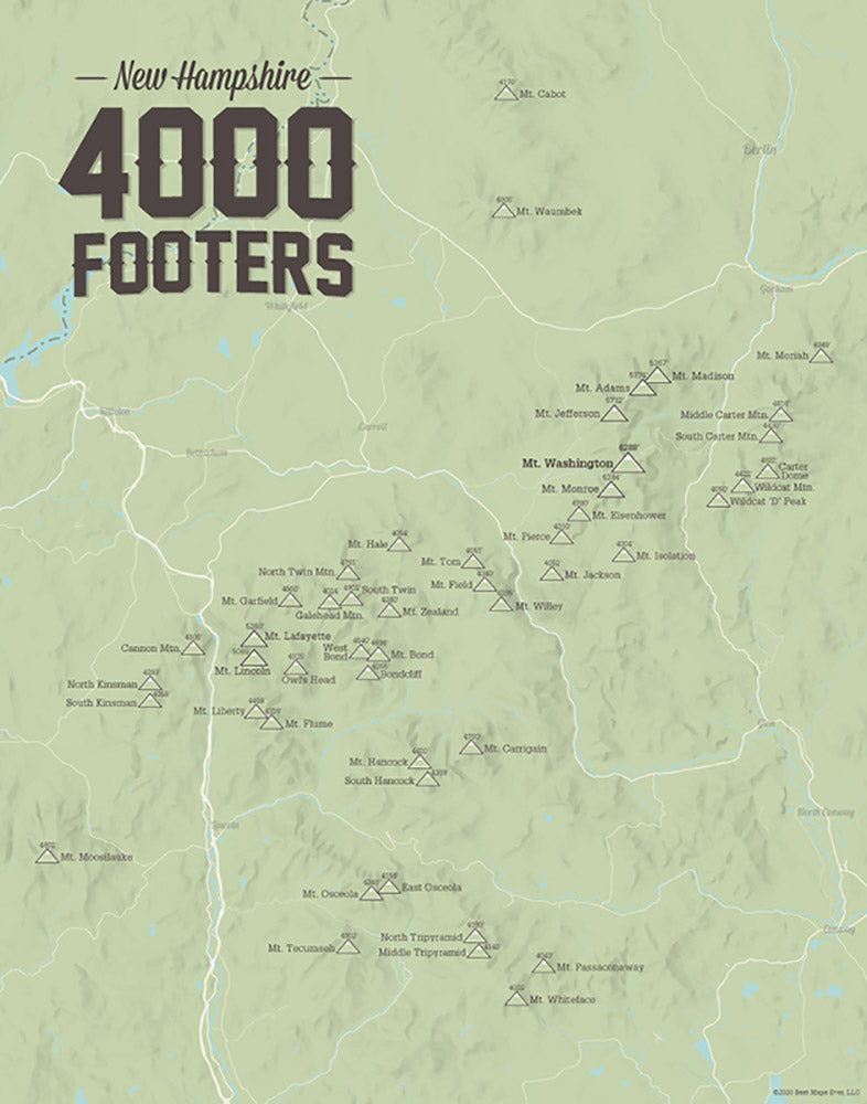 New Hampshire 4000 Footers Checklist Map - Sage