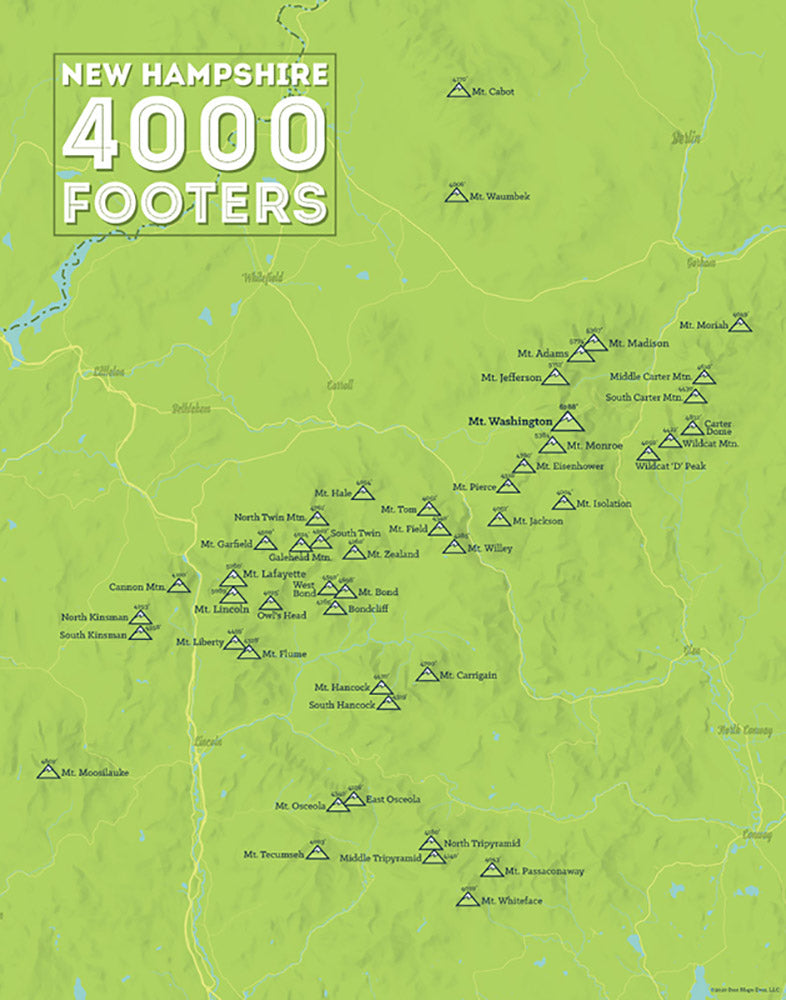 New Hampshire 4000 Footers Checklist Map - bright green