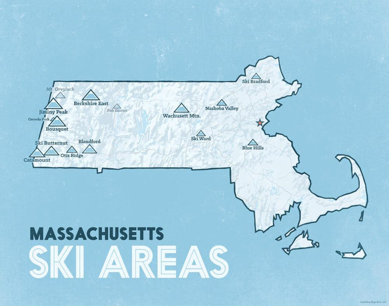 Massachusetts Ski Areas map print - white & blue