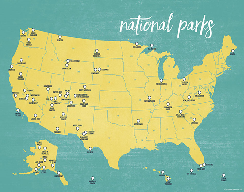 us national parks map print yellow teal