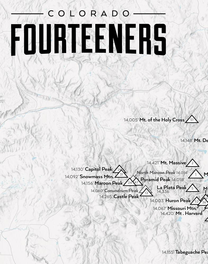 Colorado 14ers Fourteeners Checklist Map - gray