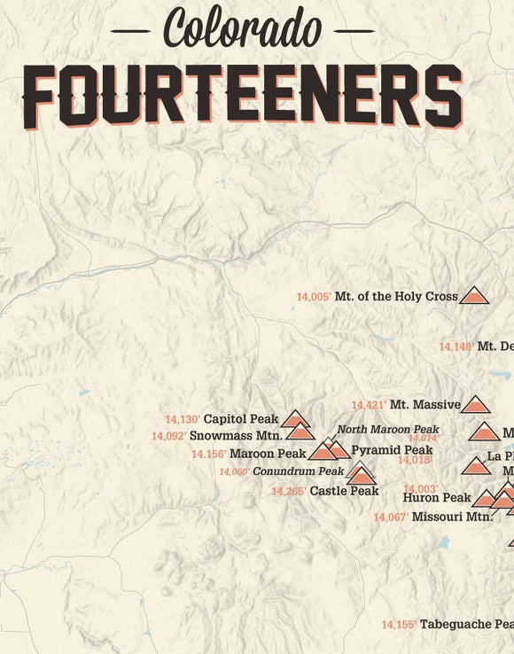 Colorado 14ers Fourteeners Checklist Map - tan