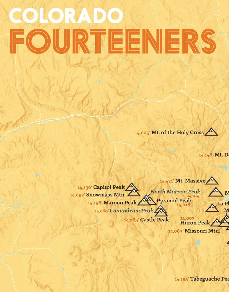Colorado 14ers Fourteeners Checklist Map - yellow-orange