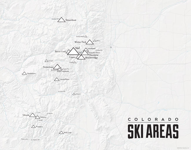 Colorado Ski Resorts Map 11x14 Print