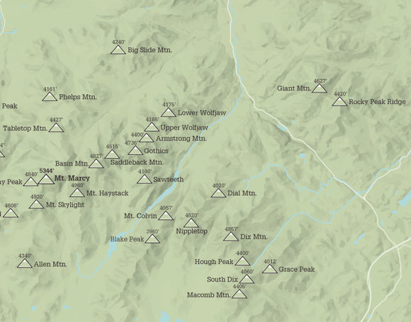 Adirondack High Peaks 46ers Map Print - sage