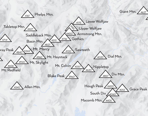 Adirondack High Peaks Map Print - gray