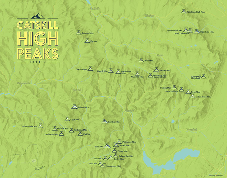 Catskill High Peaks map poster - Bright Green