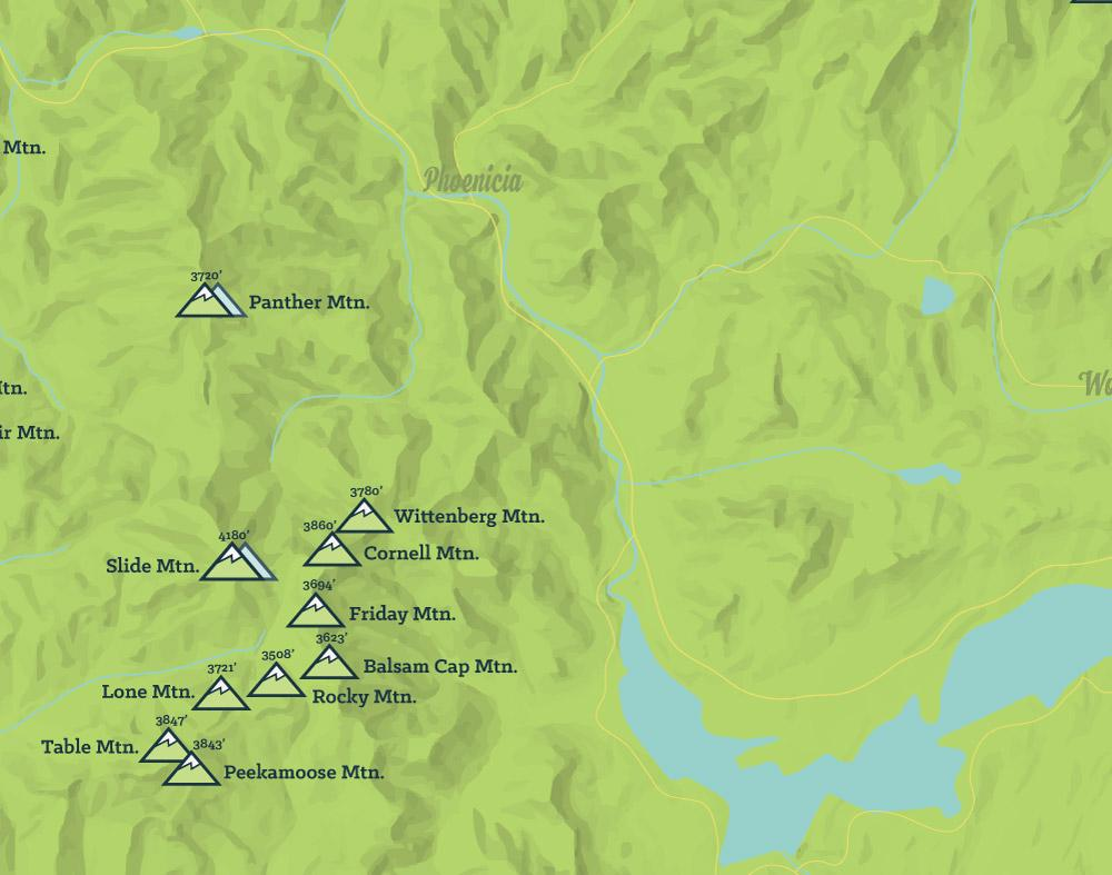 Catskill High Peaks Checklist Map - Bright Green