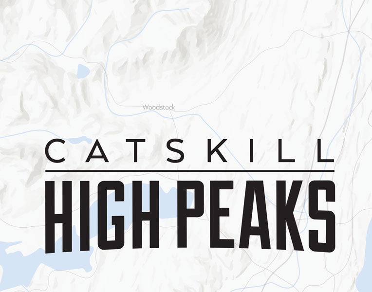 Catskill High Peaks map print - Light Gray