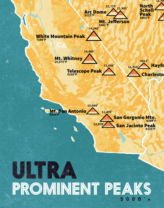 Ultra Prominent Peaks Map Poster - Butter & Teal