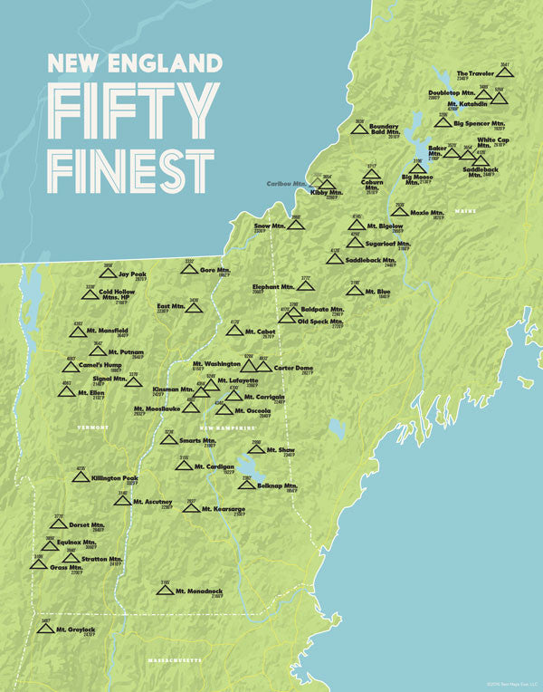 New England 50 Finest Map Print - green & aqua