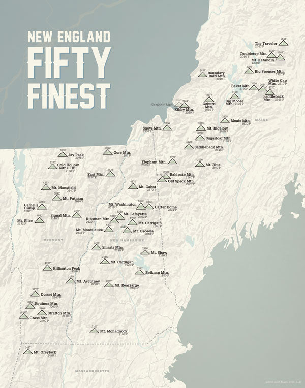 New England 50 Finest Map Print - beige & slate