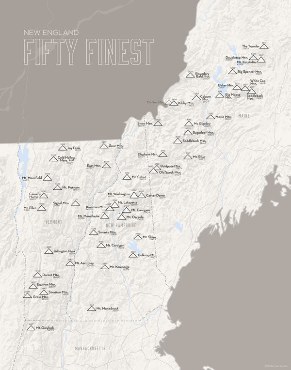 New England 50 Finest Map Print - white & gray