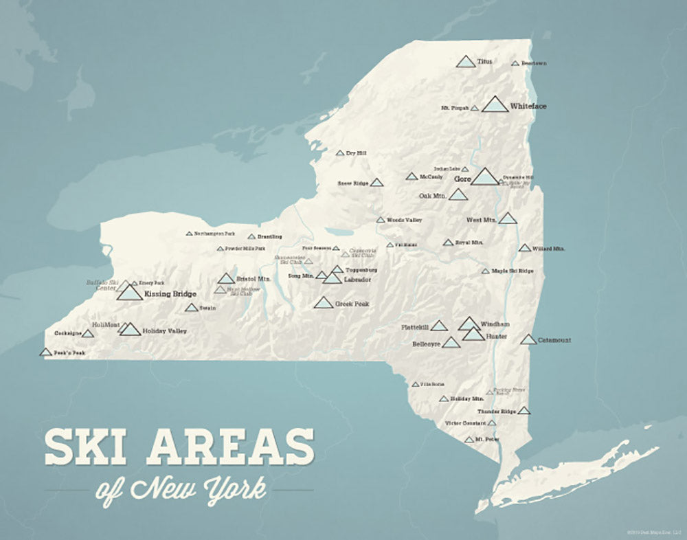 New York Ski Areas Resorts Map Print - beige & opal blue