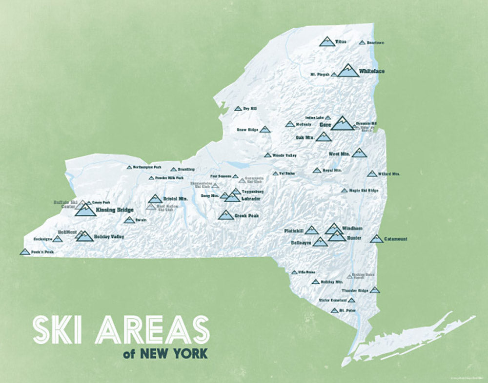 New York Ski Areas Resorts Map Print - white & green