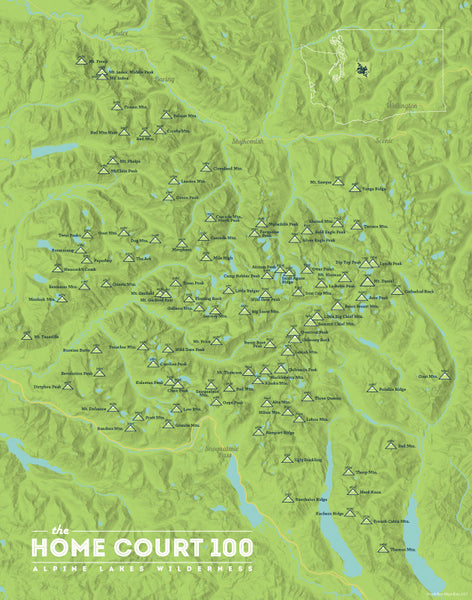 Alpine Lakes Home Court 100 Map Print - bright green