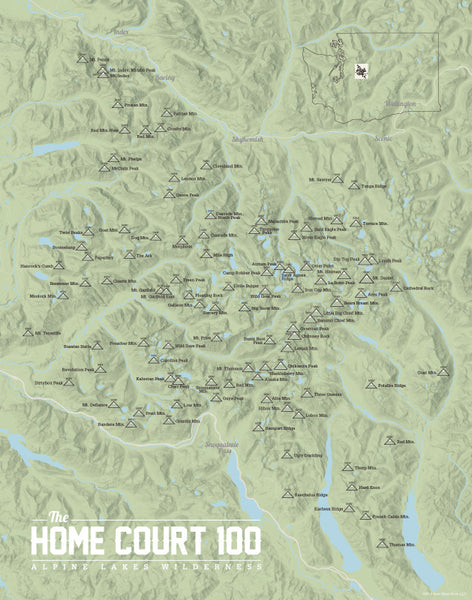 Alpine Lakes Home Court 100 Map Print - sage