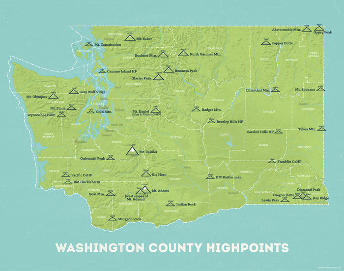 Washington County Highpoints map print - green & aqua