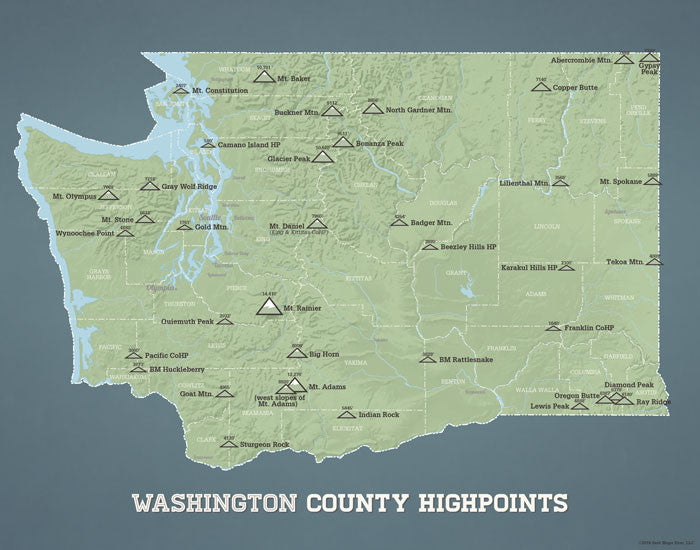 Washington County Highpoints map print - sage & slate blue