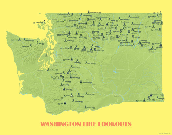 Washington Fire Lookouts map print- green & yellow