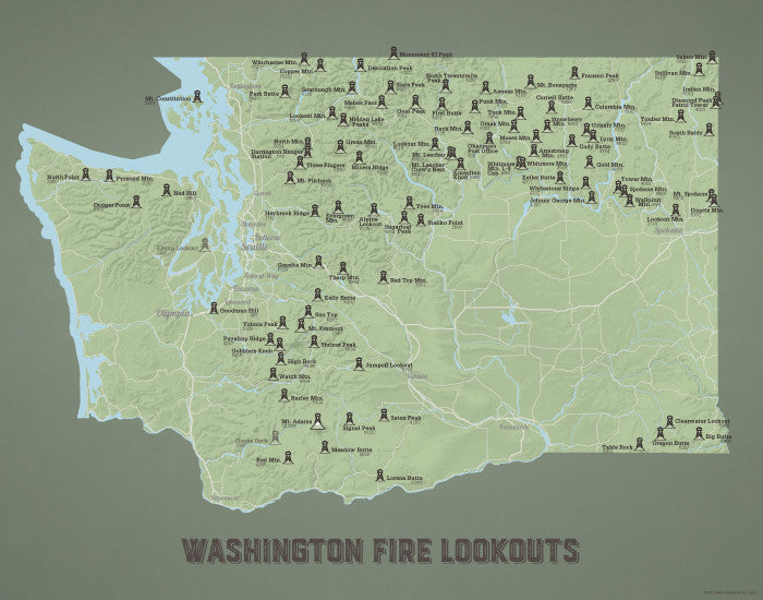 Washington Fire Lookouts map print - sage & olive