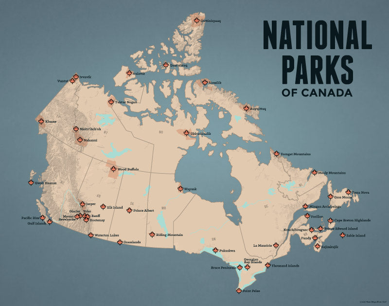 Canada National Parks Map Print - tan & slate blue