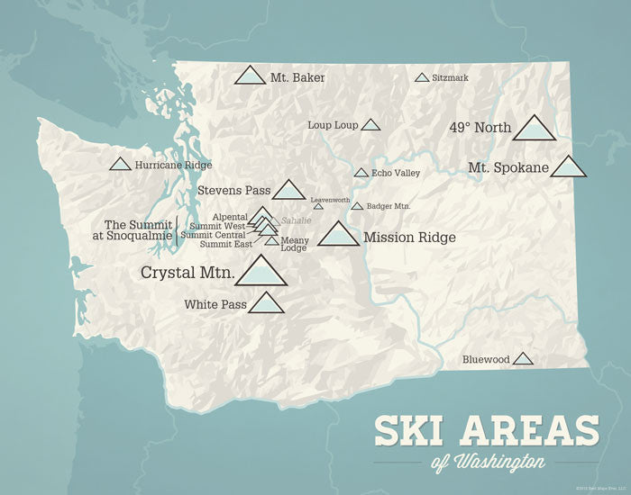 Washington Ski Resorts Map Print - beige & opal blue