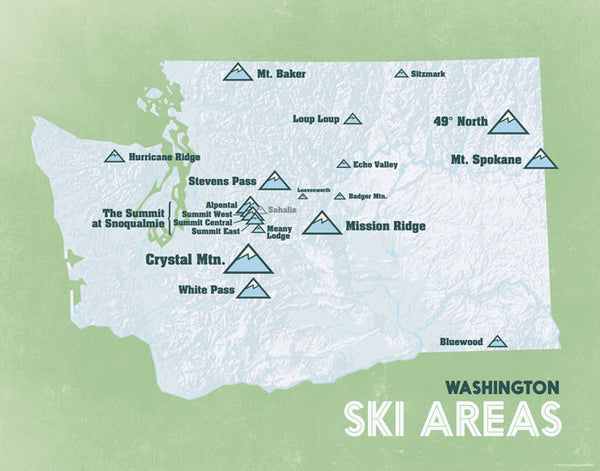 Washington Ski Resorts Map Print - white & light green