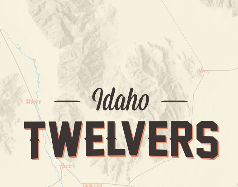 Idaho 12ers Map Print - tan