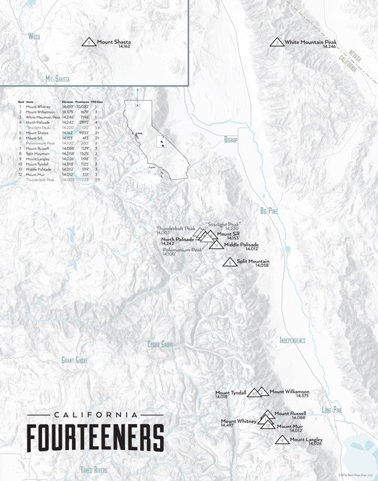 California 14ers Map Print - gray