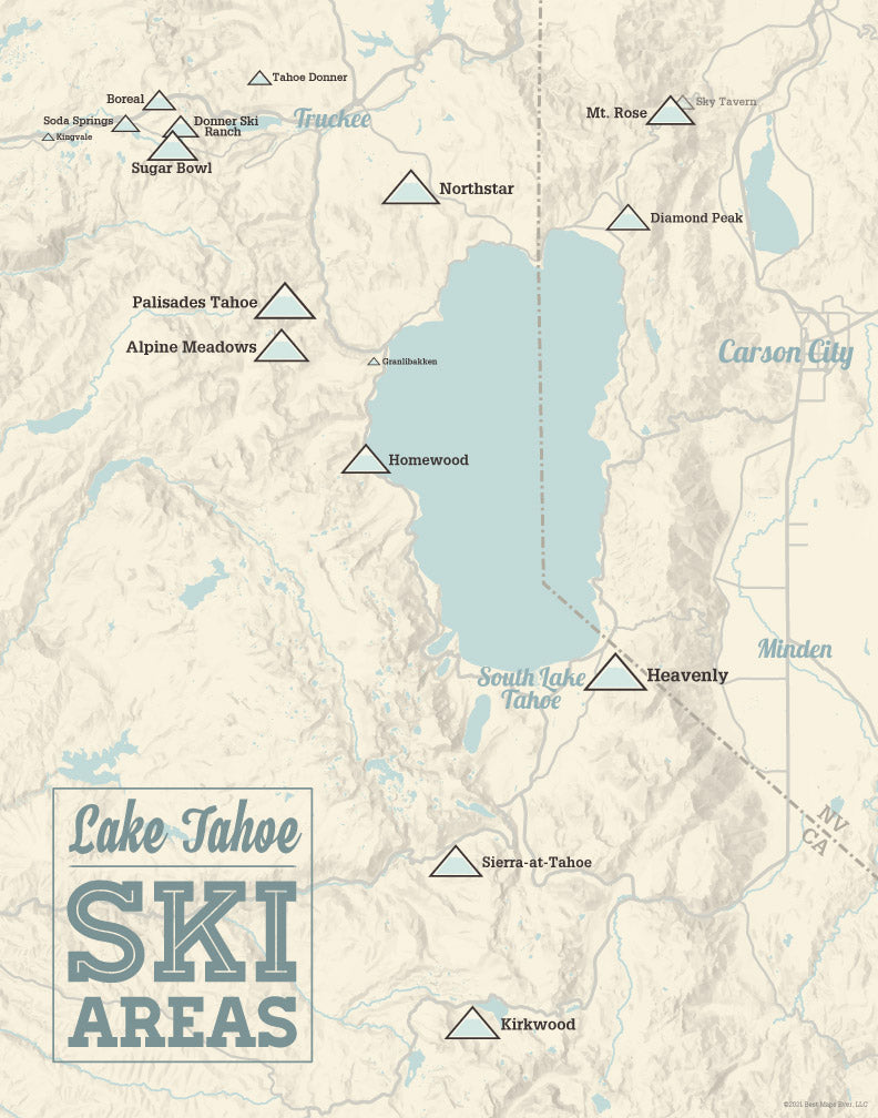 Lake Tahoe Ski Resorts map print - beige & blue