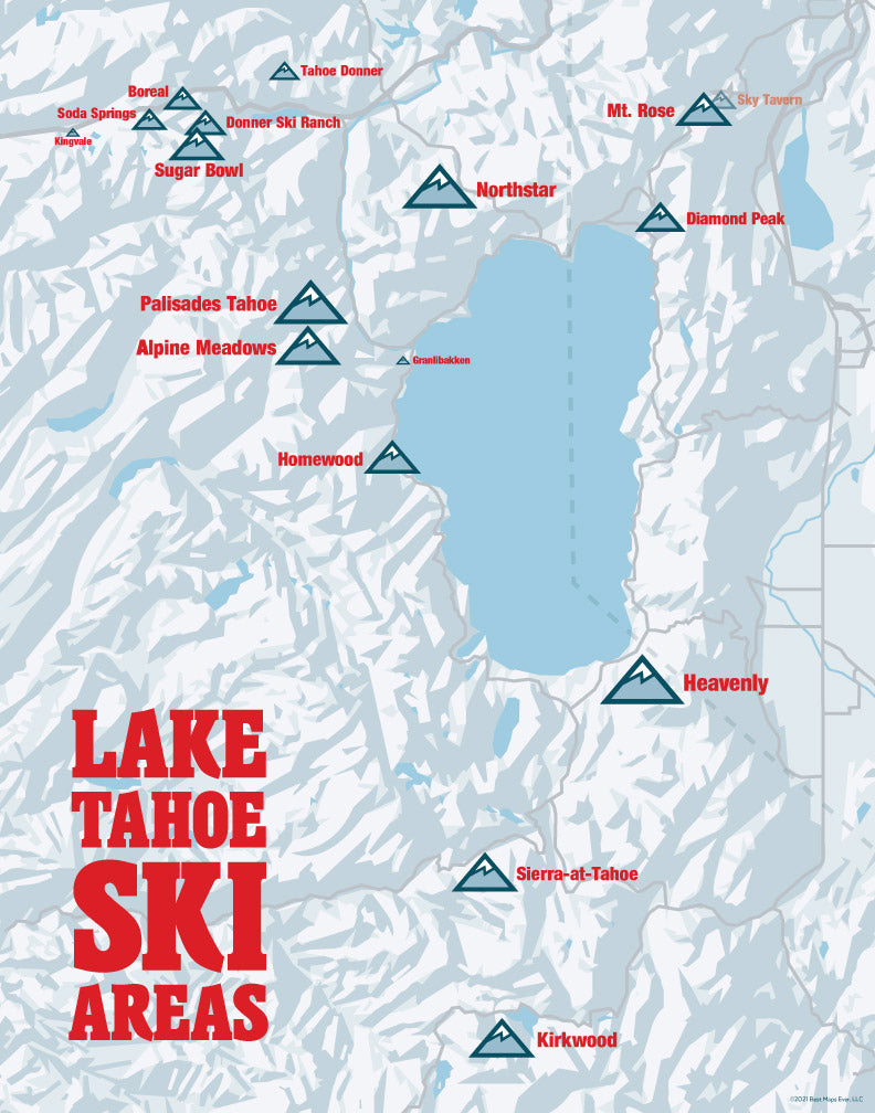 Lake Tahoe Ski Resorts map print - white & red